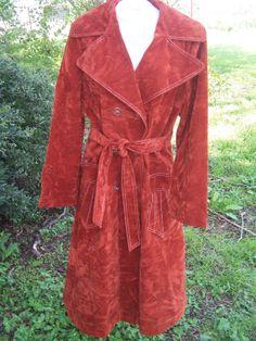 Vintage vtg crushed velvet long trench coat jacket fall 60s 70s festival rust orange jacket by toolstarr, $78.99