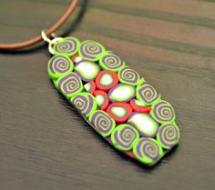 Green Spirals Polymer Clay Pendant on Your Choice by blancheandguy, $18.00