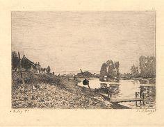 La rivière - eau-forte d'interprétation de François Flameng (1856-1923) d'après un tableau d'Alfred Sisley (1839-1899) probablement en 1870 pour le catalogue de la galerie Durand-Ruel - MAS Estampes Anciennes - Antique Prints since 1898.