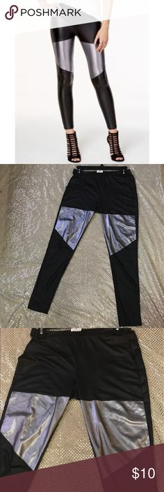 """NWT Metallic and Black Faux-Leather Leggings Brand new with tags never worn. The more you bundle the better deal I can give you. Just comment for any kind of help I am here for you! I strive for quality items at the best price. I consider offers, am a fast shopper, & top rated seller. This is for the bottoms only, the items paired may be available in my boutique. The inseam is about 26"""" Material Girl Pants Leggings"""