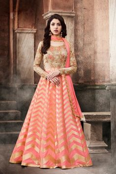 Exclusive Beige And Peach Georgette Dupion And Brocade Anarkali Suit With Dupatta - DMV15270