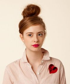 love the messy bun, the bright lip, the boyfriend button up, and the heart is like icing on the cake! #sequin #heart #bando $10.00: Ban, Heart, Valentines, Makeup, Redhead Hairstyles, Good, Beauty, Top Knot