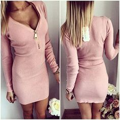 Sexy women v-neck dress autumn party dresses vestido de festa robe femme tight cloth with zippers