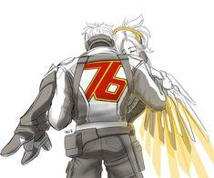 I got you by RikaChan3 on Deviantart | Overwatch Soldier: 76 and Mercy Fan Art