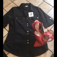 Chic and Sophisticated Anne Klein Top! This NWT Anne Klein top is a beautifully  feminine cut top. Gold embellishments make this a great go-to top! Great for work or any other semi dressy occasion. Anne Klein Tops Button Down Shirts