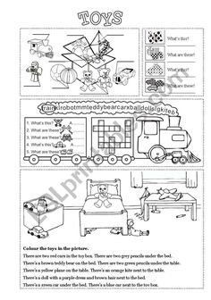 4 exercises about toys + colours, this/these and prepositions of place. Vocabulary Worksheets, Worksheets For Kids, Printable Worksheets, Printables, English Class, English Grammar, Teaching English, English Exercises, English Activities