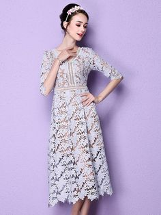 Purple,V Front And Back,Lattice,Half Sleeve,Lace Dress