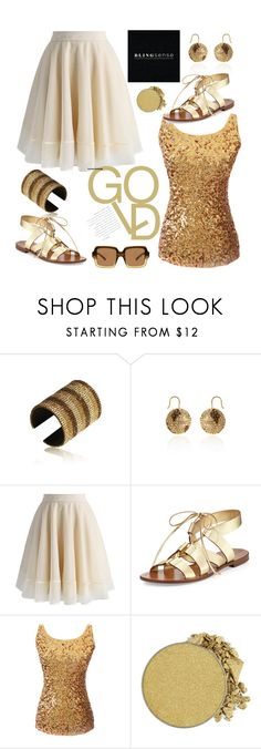 """Gold"" by jelena-topic5 ❤ liked on Polyvore featuring Chicwish, Kate Spade, Anastasia Beverly Hills, The Row, jewelry and blingsense"