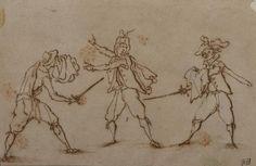 """Attribué à Jacques CALLOT (1592 – 1635) Etude pour un homme attaqué par deux[...], mis en vente lors de la vente """"Dessins et Tableaux, Art Russe, Argenterie, Bijoux, Mobilier, Objets d'art"""" à Vincent Wapler - SVV MICA   Auction.fr"""