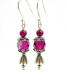 Sterling Ruby Gem Earrings Jewelry Swarovski by silvermoonstars