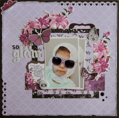 Hello everyone Today I am sharing a layout created using Kaisercrafts Violet Crush collection. Scrapbook Blog, Scrapbook Designs, Scrapbooking Ideas, Scrapbook Layouts, Glam Girl, Piece Of Me, Hello Everyone, Scrapbooks, Crushes