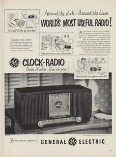 "Description: 1952 GENERAL ELECTRIC vintage print advertisement ""World's Most Useful Radio!"" -- Around the clock ... Around the house ... World's Most Useful Radio! Clock-Radio -- Choice of colors ... One low price! Model 546 -- Size: The dimensions of the full-page advertisement are approximately 10.5 inches x 14 inches (27 cm x 36 cm). Condition: This original vintage full-page advertisement is in Very Good Condition unless otherwise noted."