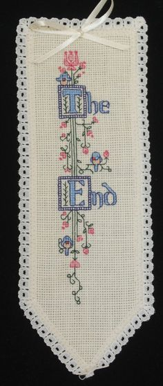 The End =   Cross stitch bookmark. A name can be added to the top if desired. on Etsy, $12.50