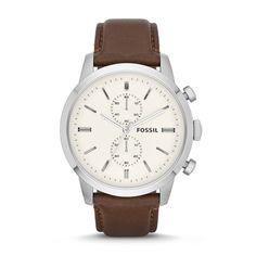 Montre Townsman chronographe en cuir by Fossil #ForHim #PANDORAvalentinescontes