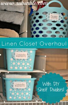 Suburble: My Life is Embarrassing: The Linen Closet - Use zip ties and pieces of wire shelving to create inexpensive shelf dividers. Linen Closet Organization, Organization Hacks, Organizing Ideas, Organising, Organization Station, Household Organization, Shelf Dividers, Wire Shelving, Adjustable Shelving