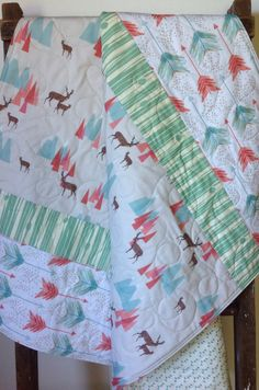 Baby Quilt, Gender Neutral, Woodland, Bow, Arrow, Rustic, Deer, Coral, Mint, Baby Blanket, Crib Bedding, Nursery Quilt, Baby Bedding on Etsy, $145.00