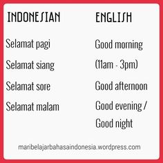 Indonesian Greetings Indonesian Language, Bali Travel, Promotion, English, Culture, Math, Learning, Words, Tips