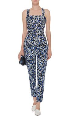 Cotton Silk Floral Cross Back Top With Peplum by MOTHER OF PEARL Now Available on Moda Operandi