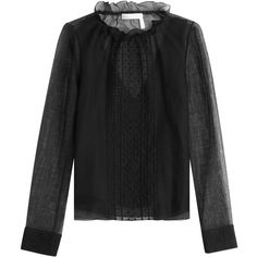 See by Chloé Embroidered Blouse ($235) ❤ liked on Polyvore featuring tops, blouses, black, embroidered blouses, sheer ruffle blouse, embroidery blouses, frilly blouse and high neck ruffle blouse