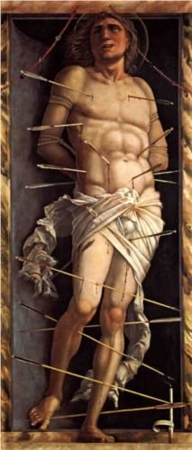 St. Sebastian - Andrea Mantegna. | Is it wrong that this reminds me of childhood games of Kerplunk?