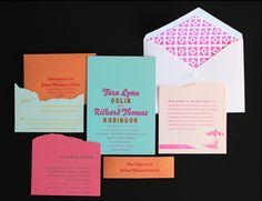 neon letterpress invitations by ladyfingers letterpress