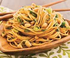 thai peanut noodles!  Mmmm...you could add some chicken or thin-cut beef to this, too!  Yum!