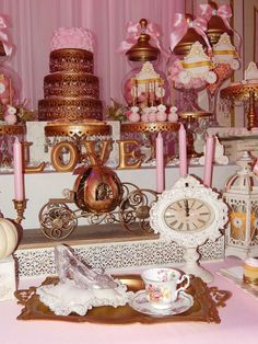 Magical pink and gold Cinderella wedding party! See more party planning ideas at CatchMyParty.com!