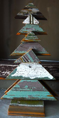 Handmade Christmas Tree Sculptures - a great addition to a shabby chic decor for the season!