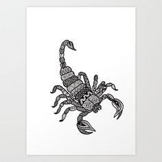 Zodiac zentangle scorpio Art Print by Mikaela Puranen - $20.80