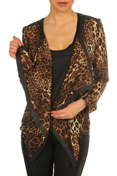 F3025205-LeopardCombo-front. Fall Collections, Leopard Animal, Chic, Pattern Fashion, Sweaters, Jackets, Tops, Leather, Products