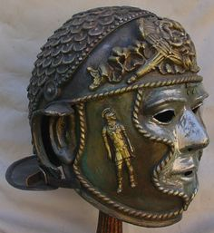 ‏ - Detail of helmet and plumes of a Roman calvalryman during the Hippika Gymnasia. 1st century AD                                                                                                                                                      More