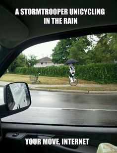 The Rare Unicycling Stormtrooper // funny pictures