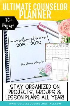 The ultimate school counselor planner (Pink floral theme) will keep you organized all year long including individual and group counseling pages, lesson planner, weekly, monthly calendars and more! Features soft colors for ink-saving printing! - College Counselor Traci School Counseling Office, Group Counseling, Back To School Activities, School Resources, School Counselor Organization, School Counsellor, Monthly Calendars, College Success, Lesson Planner