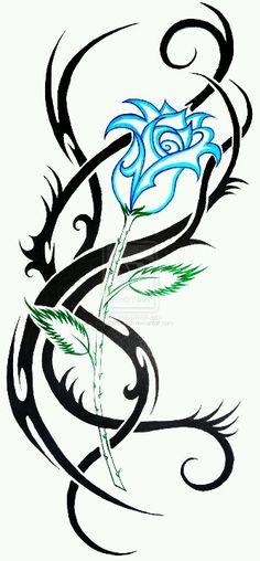 Super Ideas For Tattoo Designs Tribal Deviantart Tribal Rose Tattoos, Vine Tattoos, Rosen Tattoos, Tribal Tattoo Designs, Flower Tattoos, Body Art Tattoos, Sleeve Tattoos, Tribal Bear Tattoo, Tatoos