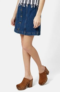 Topshop+Moto+Button+Front+Denim+Miniskirt+(Mid+Denim)+available+at+#Nordstrom