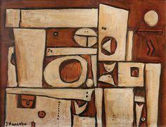""" Composición "" JULIO MANCEBO (1933) Óleo sobre fibra 20 x 27 cm. Firmado abajo izquierda."