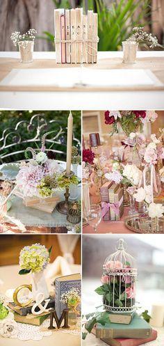 Centros de mesa para bodas con libros vintage