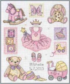 Girl Birth (Birth Record) - Counted Cross Stitch Kit