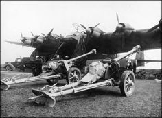 "PaK 40 75 mm anti-tank guns before loading to Messerschmitt Me 323 ""Gigant probably Russia"