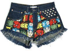 Marvel shorts Superheroes denim shorts Levis High by DSMjeans