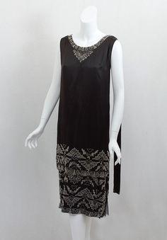 Egyptian Revival beaded satin flapper dress, c.1925
