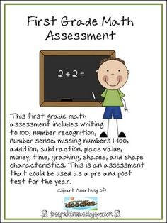 This first grade math assessment includes addition, subtraction, place value, number sense, writing to 100, missing numbers, number recognition, ...