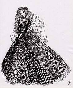 Queen of Hearts-@Christina & Lehmann Zentangle much???:D