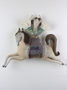 """circus doll vintage circus horse and lady """"Lady and the Flying Horse' of The Theatre of Tales by Pantovola #vintagecircus #circusdoll #horsedoll #vintagedoll #primitivedoll #textiledoll #textileart #clothdoll #pantovola"""