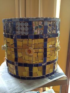 Blue and yellow mosaic pot