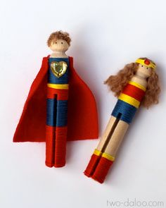 Make these adorable superhero clothespin wrap dolls with a few simple materials- great for pretend play!