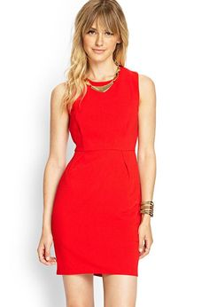 Love 21 - This sleeveless woven sheath dress features pronounced front seams, and pleating to cre...
