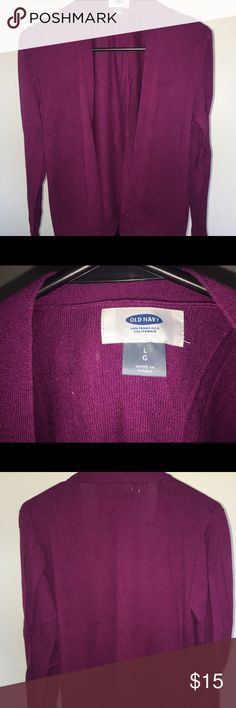 Purple fuchsia colored cardigan Perfect cardigan, no button open front. Gently used. Perfect for work Sweaters Cardigans