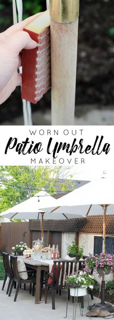 Don't throw away those old patio umbrellas just yet! This makeover will make them pretty again!