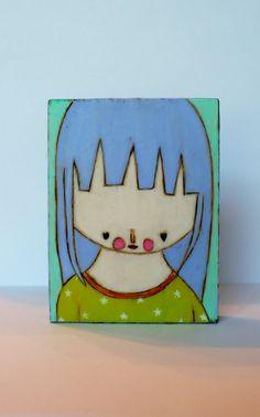 Bright heart girl folk art painting mixed media bees by Lia Lane Funky Art, Naive, Figurative, Blind, Line Art, Bees, Serenity, Art Drawings